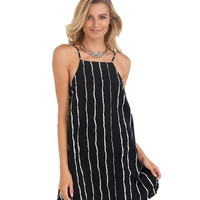 Black Stripe Halter Neck Dress