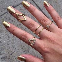 A Set New Design Fashion Women Silver Crystal Ring Wedding Engagement Gift Jewelry = 5988148417