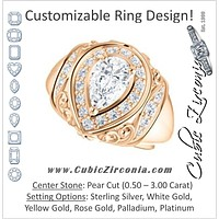 Cubic Zirconia Engagement Ring- The Mariah (Pear Center Halo-Style Lattice with Accented Step-Setting)