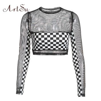 ArtSu checkerboard Plaid Mesh Top Transparent Black Long Sleeve Tshirt Women Sexy Crop Top Workout Fitness Tops Tees ASTS20431