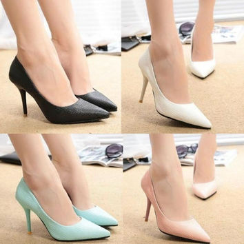 Womens Faux Leather Pointy Toe Stiletto High Heel Ladies Pumps Party Court Shoes = 5708903361