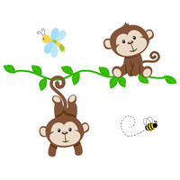 Safari Nursery Decor Hanging Monkey Vine Decal Wall Art Mural [1041] - $20.00 : DeCamp Studios, The best selection of nursery wall murals, childrens wallpaper border, teen girl or boy wall art decals, baby premade scrapbook pages, and digital printable cli