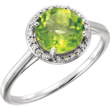 14K Yellow Opal & .05 CTW Diamond Ring