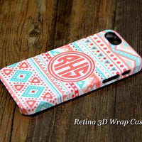 Turquoise and Pink Monogram iPhone 6 Plus/6/5S/5C/5/4S/4 Case #935