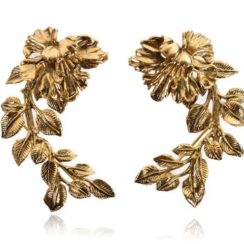 Roberto Cavalli Gold Metal Black Etched Floral Earring Cuffs