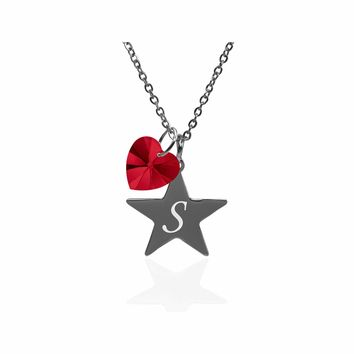 Pink Box Dainty Star Initial Necklace Made With Crystals From Swarovski  - S