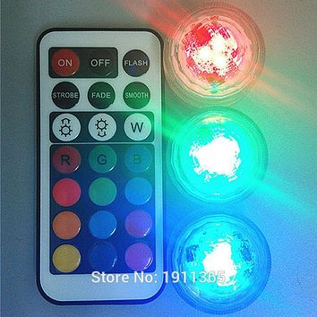 10pcs Wedding Decoration Submersible LED Remote Control Tea Mini Light With Battery For Christmas Party Supplies Hookah Shisha