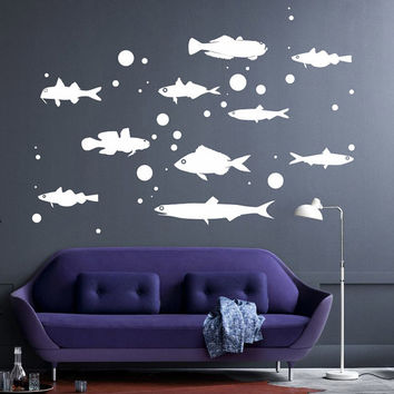 I216 Wall Decal Vinyl Sticker Art Decor Design sea ocean fish set swim bladders bottom nature treasure dive diving Living Room Bedroom