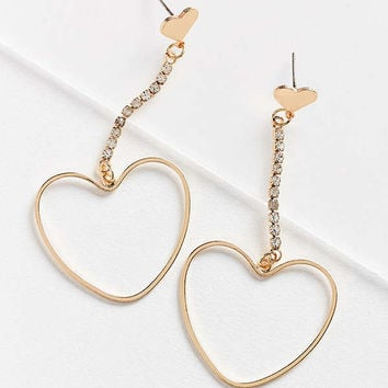 Billie Rhinestone Heart Drop Earring | Urban Outfitters