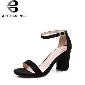 BONJOMARISA Women's Ankle Strap Buckle Up Chunky High Heels Summer Shoes Woman Open Toe Platform Sandals Big Size 34-43