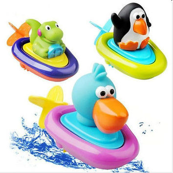 Cute Animal Baby Bathroom Pull Back and Go Wind Up Water Float Boat Bath Toy HU