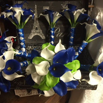 Royal Blue White Lime Calla Lily Bridal Bouquet Wedding Flower 17 Piece Set, Royal Blue White Bouquet, Lime Wedding Bouquet Blue Bridal