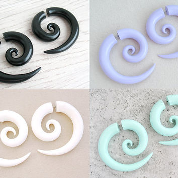 Spiral Gauges, Fake Gauge Earrings, Ear Gauges, Tribal Plugs, Spiral Plugs, Ear Tapers, Tribal Gauges, Faux Gauges, Fake Plugs, Ear Plugs