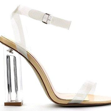 Cape Robbin Maria-2 Women's Lucite Clear Strappy Block Chunky High Heel Open Peep Toe Sandal