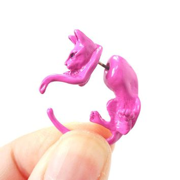 Fake Gauge Earrings: Realistic Kitty Cat Pet Animal Shaped Plug Stud Earrings in Pink