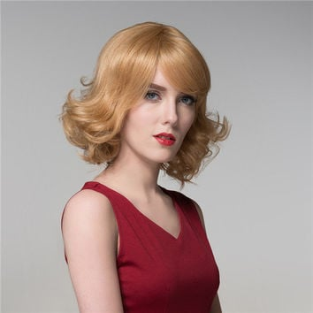 Jaunty Wavy Remy Real Virgin Human Hair Wig Short Mono Top Capless 8 Colors