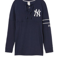 New York Yankees Bling Lace-up Varsity Crew - PINK - Victoria's Secret