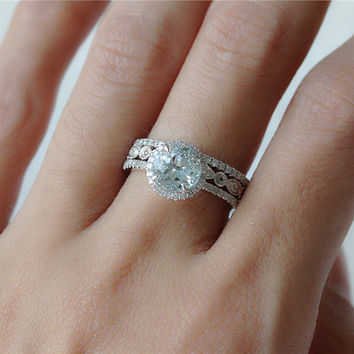 Aquamarine Ring Set in 14k White Gold 7mm Aquamarine Halo Ring and 2 Diamond Bands Anniversary Ring Promise Ring Wedding Band