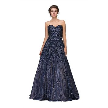 Navy Blue Strapless Sequins Prom Gown Corset Back