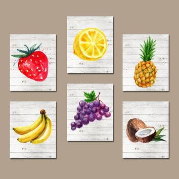 Watercolor Fruit Wall Art, Kitchen Wall Decor, Fruit Vegetables, Food Decor, Pineapple Grapes, Banana Lemon Set of 6, Canvas or Prints
