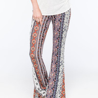 Full Tilt Vertical Print Womens Flare Pants Multi  In Sizes