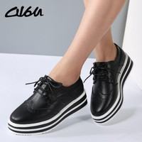 O16U Women Flat Platform Brogue Shoes Leather Lace up Pointed Toe Ladies Black White O