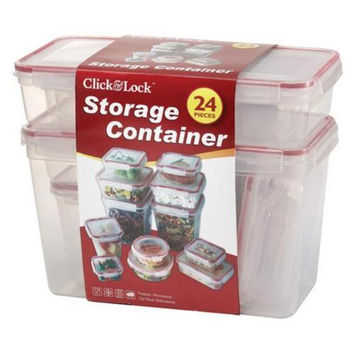 24 Piece Plastic Container With Click & Lock Lids