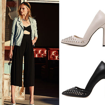 Pointed Toe Hollow Out Rivet High Heel Shoes = 4814689796