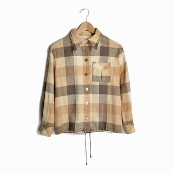 Vintage 60s Plaid Wool Shirt Jacket in Brown & Tan - women's medium