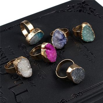 GEOMEE European Crystal Natural Stone Ring for Women Men Irregular Teardrop Water Drop Drusy Druzy Rings Woman Jewelry R3