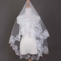 White Lace Edge Bridal Veil Wedding Veil