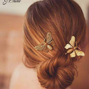 Vintage Silver Gold Color Brand Women Hair Jewelry Accessories Insect Iron Barrettes Hair Clip All Match Wedding Hairpins