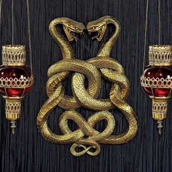 Egyptian Infinity Cobra Twins Wall Plaque - CL6223 - Design Toscano