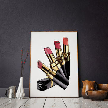 LIPSTICK PRINT Makeup Print Lipstick Print Chanel Print Makeup Painting Glam Room Fashion Painting Fashion Print Chanel Lipstick Wall art