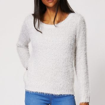 Light Gray Fluffy Jumper
