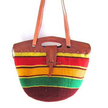 SAMPLE SALE // The Empress Bag // Woven African Handbag with Leather Closure // Burgundy, Red, Green, & Yellow