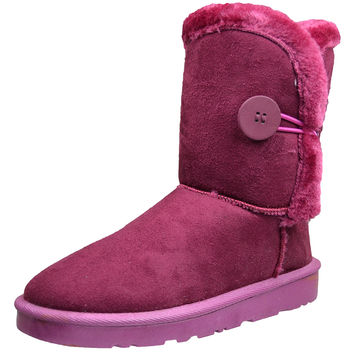 Womens Ankle Boots Single Button Closure Casual Comfort Shoes Pink SZ