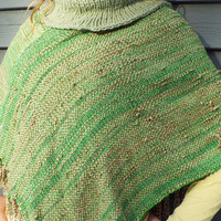 Green Poncho with Collar, Handwoven Green Shawl for St Patricks Day, Irish Girl HandWoven Poncho woven wrap handmade gift for women, for mom