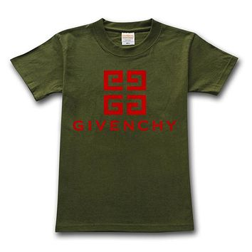 Givenchy 2019 new high quality classic letter print round neck half sleeve t-shirt Green