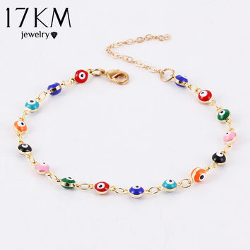 17KM Colorful Turkish Evil Eyes Bracelt Simple Charm Bracelet & Bangle Gold Plated Beads Party pulseira masculina Fine Jewelry