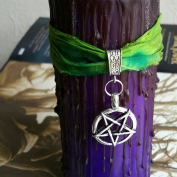Purple and black psychedelic pentagram candle with holographic glitter, tie dye candle, Satanic anti religion decor, baphomet, pagan candle,