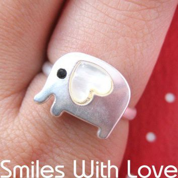 Adjustable Elephant Ring in Silver with Heart Shaped Ears | dotoly - Jewelry on ArtFire