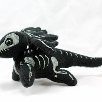 Skeleton Dragon Stuffed Animal Beanie Plush Halloween Toy Glow in the Dark