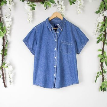 Vintage Denim Button Up Blouse