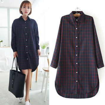 Autumn Korean Boyfriend Split Plaid Shirt Scales [8805256519]