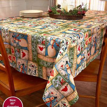 Snowman Holiday Tablecloth Patchwork Country Inspired Print Patchwork Look