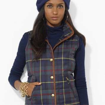 Leather-Trimmed Plaid Vest - Outerwear   Women - RalphLauren.com