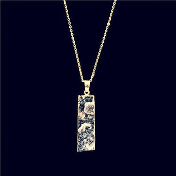 100% Natural Stone Pendant Necklace ~Amethyst Stone Charms  Black