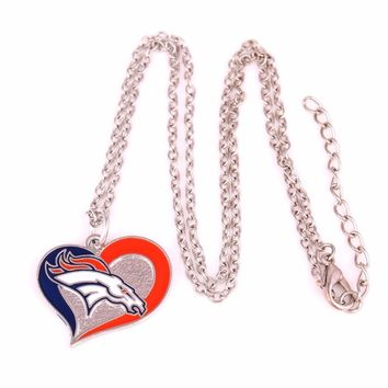 Drop shipping New styles enamel single-sided Denver Broncos Swirl Heart Football team logo charm with link chain sport Necklace