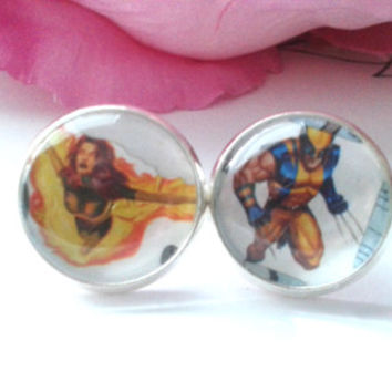 Super Hero Couple Stud Earrings - Studs - Earrings - Fake Plugs - Stud Earrings - Earring Studs - Comic Book Earrings - Comic Book Jewelry
